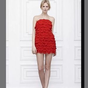 Anthropologie Leifsdottir Red Ruffled Dress